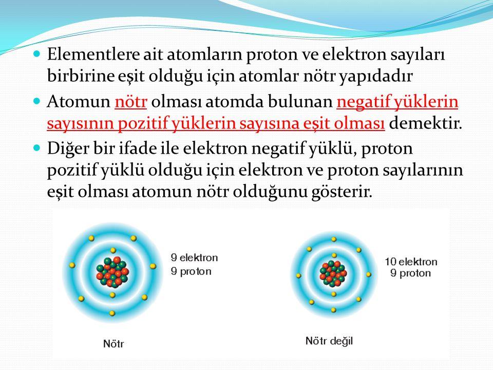 Elementlere ait atomların proton ve elektron sayıları birbirine eşit olduğu için atomlar nötr yapıdadır