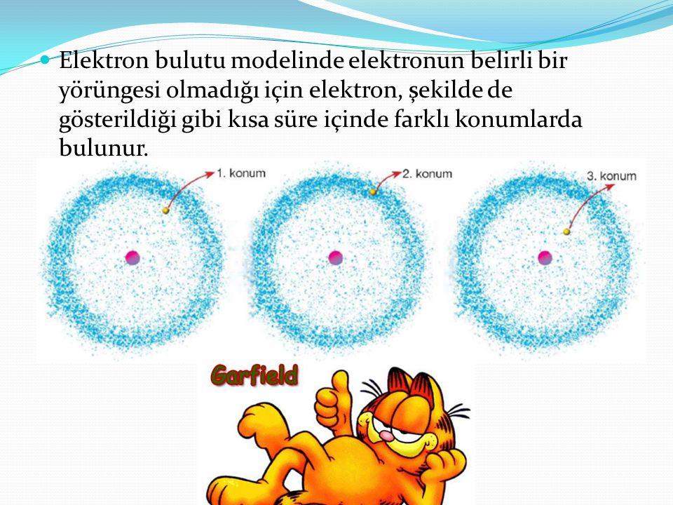 Elektron bulutu modelinde elektronun belirli bir yörüngesi olmadığı için elektron, şekilde de gösterildiği gibi kısa süre içinde farklı konumlarda bulunur.