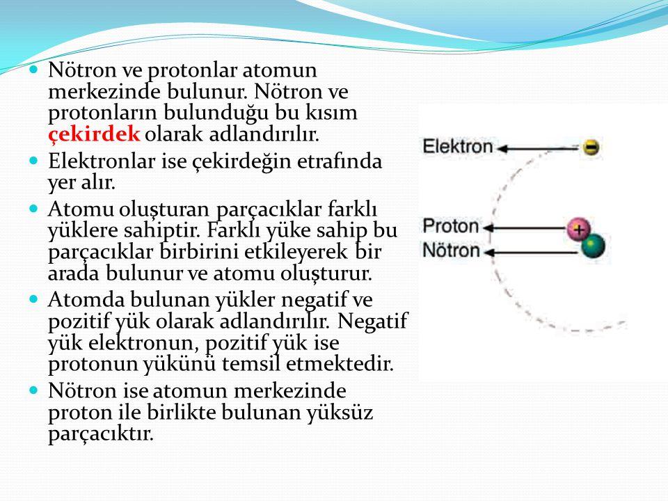 Nötron ve protonlar atomun merkezinde bulunur