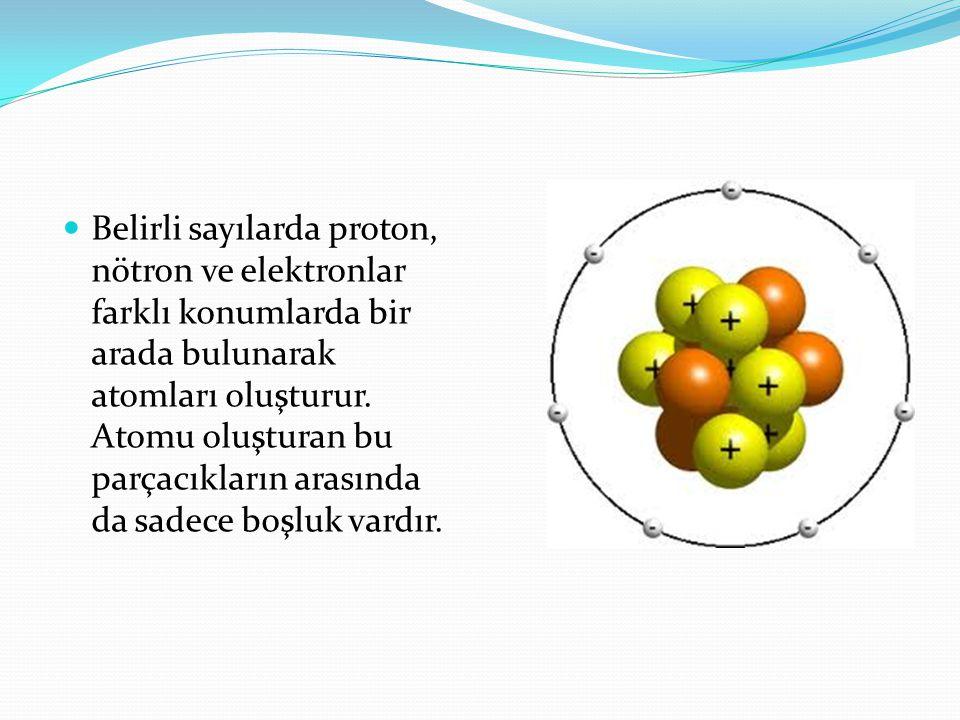 Belirli sayılarda proton, nötron ve elektronlar farklı konumlarda bir arada bulunarak atomları oluşturur.