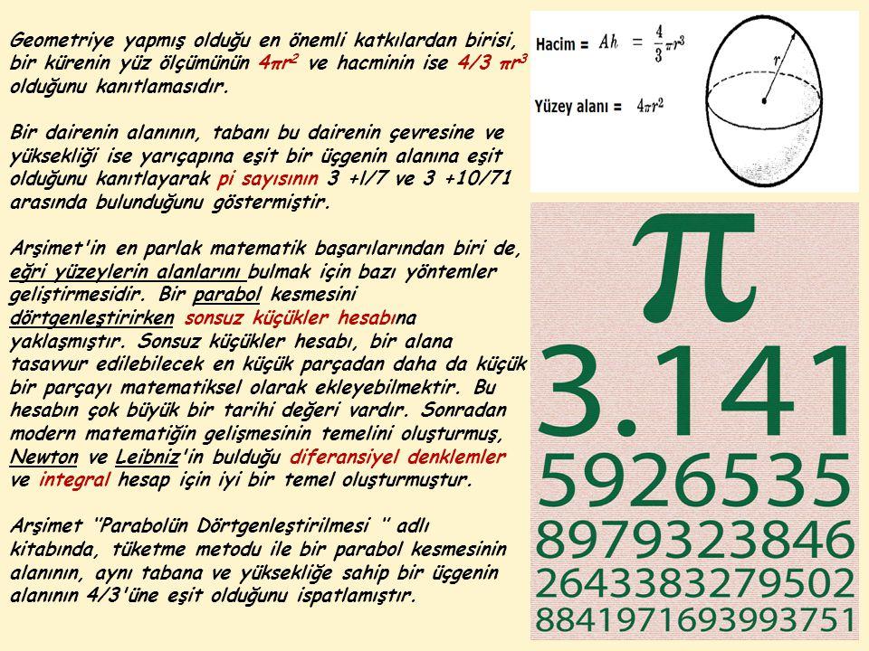 Geometriye yapmış olduğu en önemli katkılardan birisi, bir kürenin yüz ölçümünün 4πr2 ve hacminin ise 4/3 πr3 olduğunu kanıtlamasıdır.