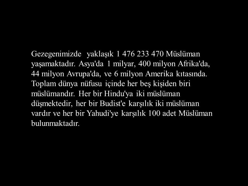 Gezegenimizde yaklaşık 1 476 233 470 Müslüman yaşamaktadır