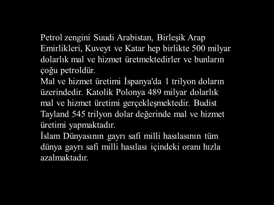 Petrol zengini Suudi Arabistan, Birleşik Arap Emirlikleri, Kuveyt ve Katar hep birlikte 500 milyar dolarlık mal ve hizmet üretmektedirler ve bunların çoğu petroldür.