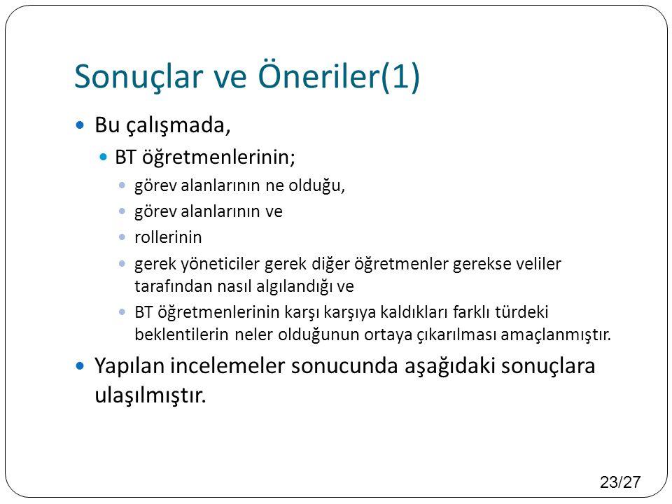 Sonuçlar ve Öneriler(1)