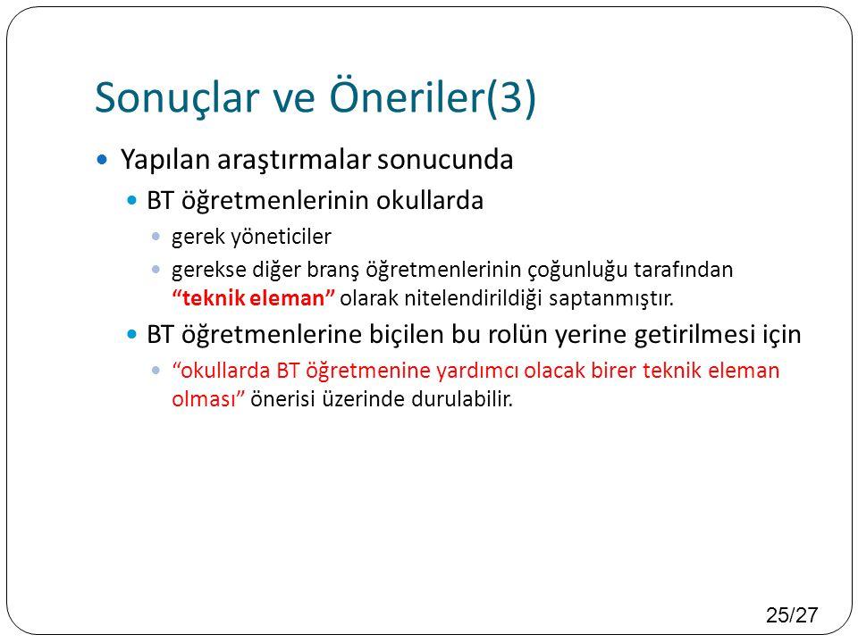 Sonuçlar ve Öneriler(3)