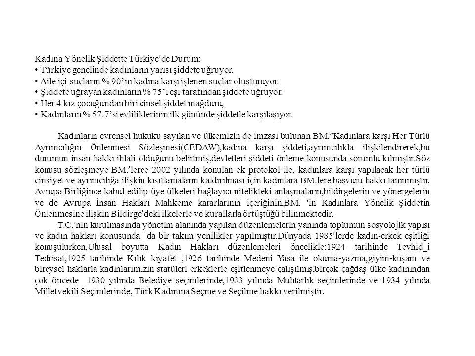 Kadına Yönelik Şiddette Türkiye'de Durum: