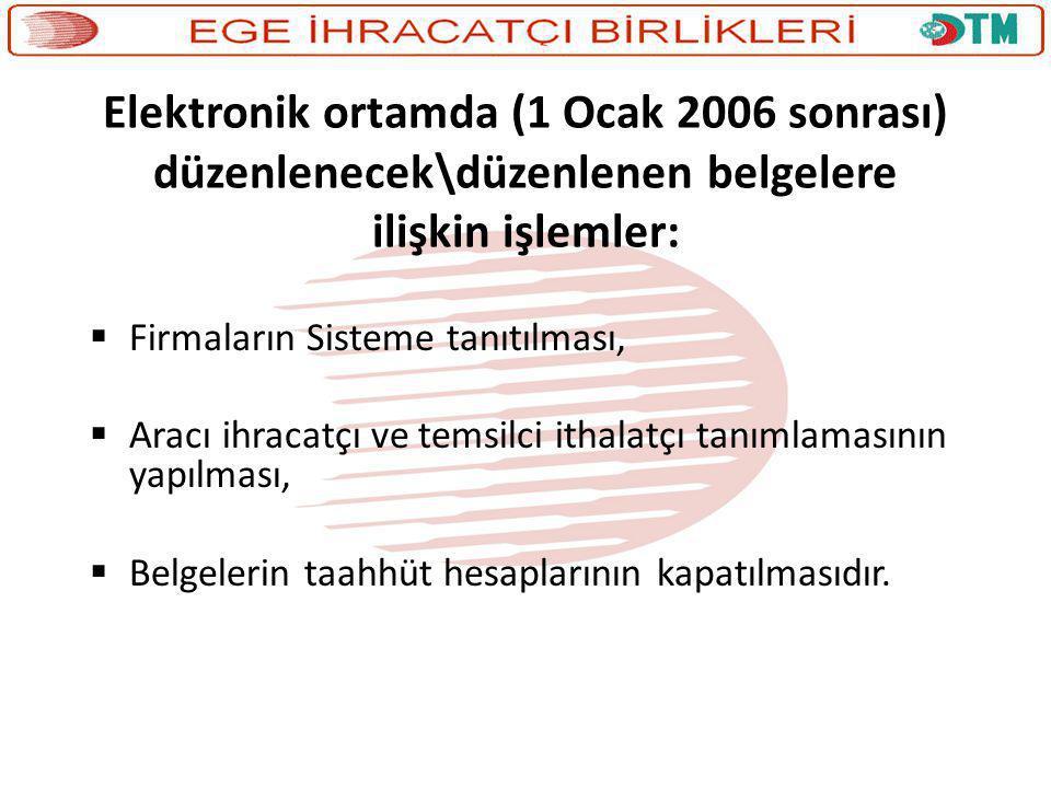 Elektronik ortamda (1 Ocak 2006 sonrası) düzenlenecek\düzenlenen belgelere ilişkin işlemler: