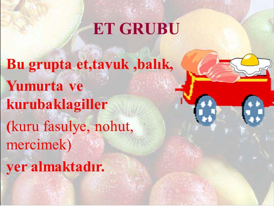 ET GRUBU Bu grupta et,tavuk ,balık, Yumurta ve kurubaklagiller (kuru fasulye, nohut, mercimek) yer almaktadır.