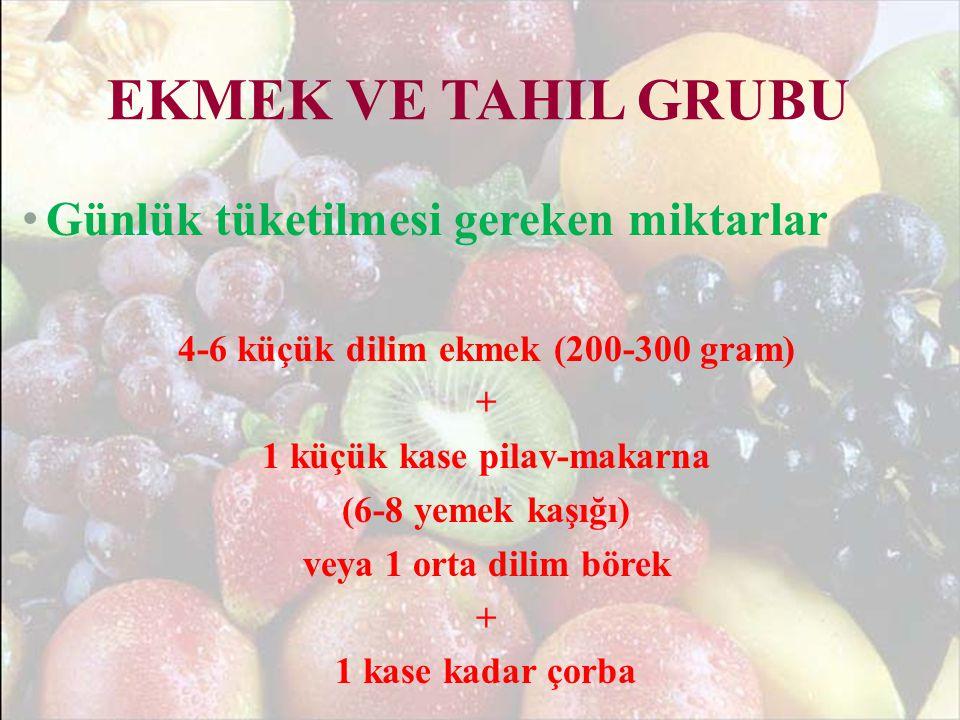 4-6 küçük dilim ekmek (200-300 gram) 1 küçük kase pilav-makarna