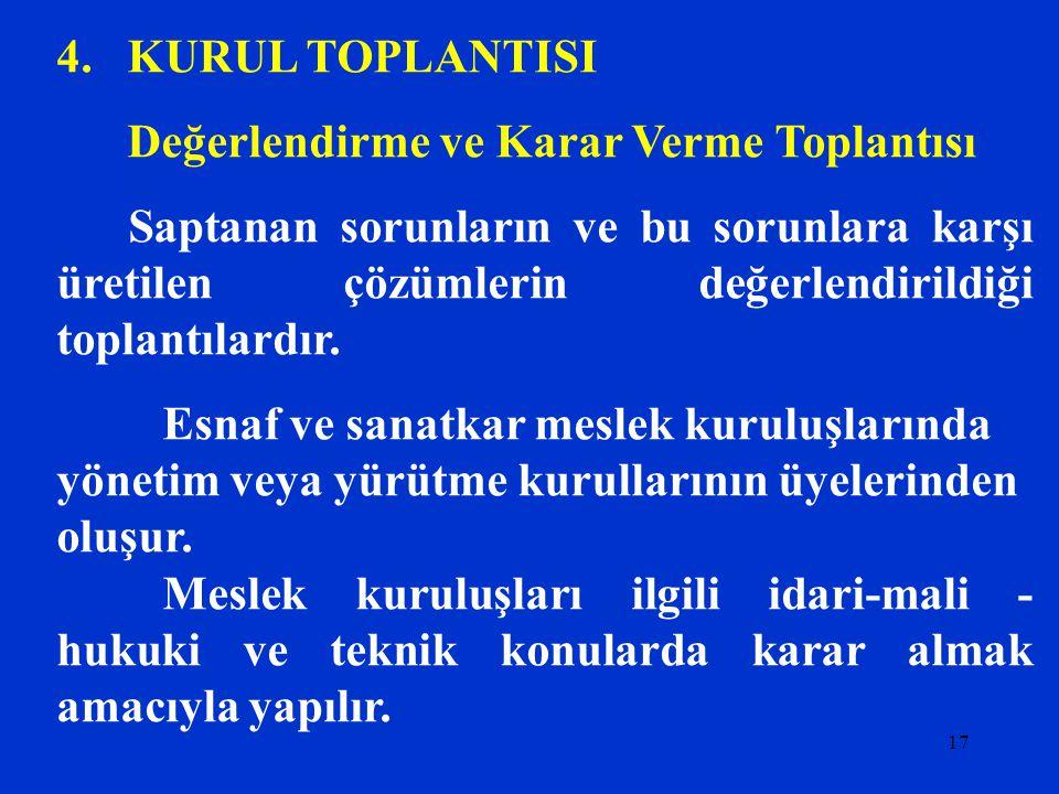 4. KURUL TOPLANTISI Değerlendirme ve Karar Verme Toplantısı.