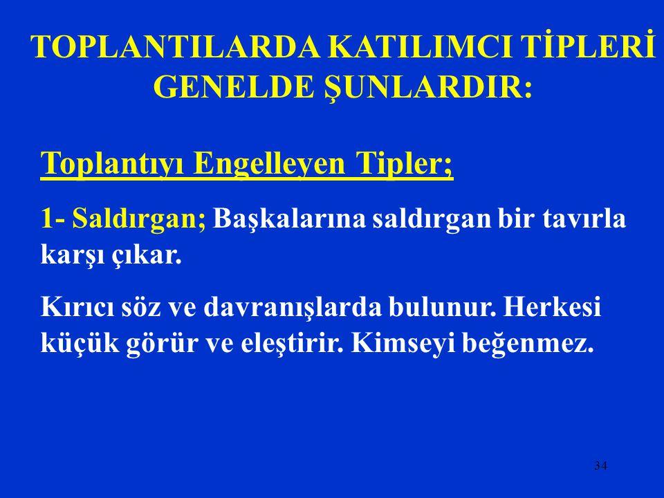 TOPLANTILARDA KATILIMCI TİPLERİ GENELDE ŞUNLARDIR: