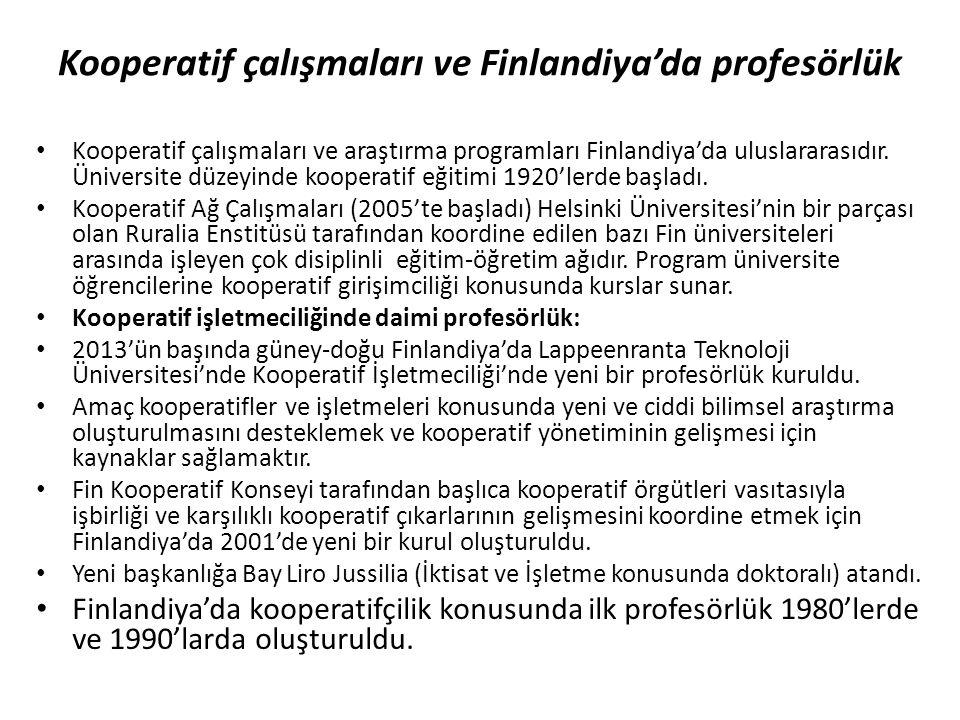 Kooperatif çalışmaları ve Finlandiya'da profesörlük