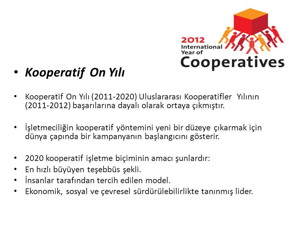 Kooperatif On Yılı Kooperatif On Yılı (2011-2020) Uluslararası Kooperatifler Yılının (2011-2012) başarılarına dayalı olarak ortaya çıkmıştır.
