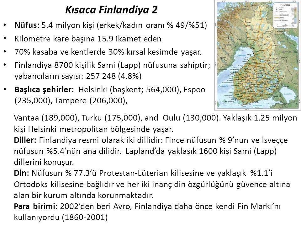 Kısaca Finlandiya 2 Nüfus: 5.4 milyon kişi (erkek/kadın oranı % 49/%51) Kilometre kare başına 15.9 ikamet eden.
