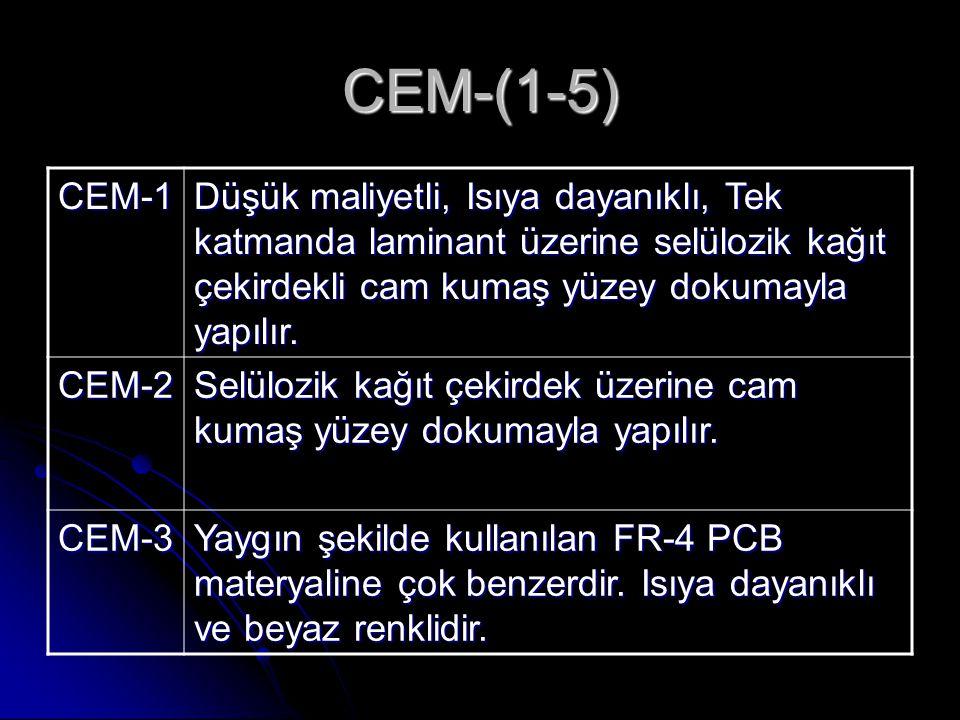 CEM-(1-5) CEM-1. Düşük maliyetli, Isıya dayanıklı, Tek katmanda laminant üzerine selülozik kağıt çekirdekli cam kumaş yüzey dokumayla yapılır.
