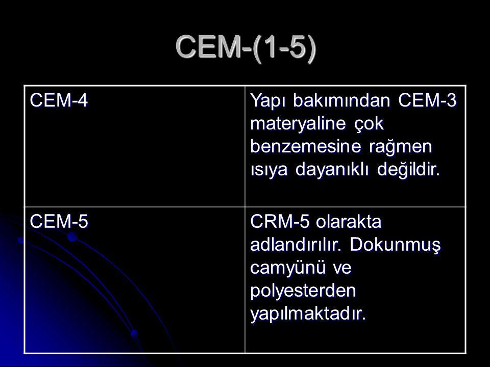 CEM-(1-5) CEM-4. Yapı bakımından CEM-3 materyaline çok benzemesine rağmen ısıya dayanıklı değildir.