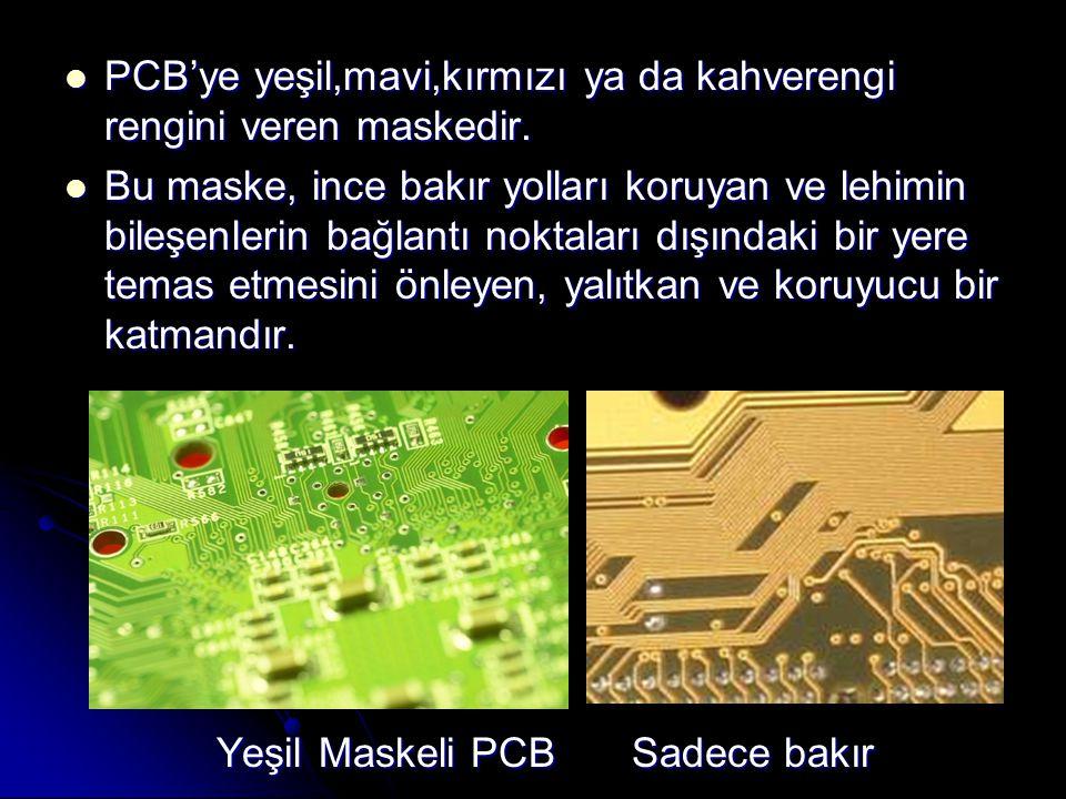 PCB'ye yeşil,mavi,kırmızı ya da kahverengi rengini veren maskedir.