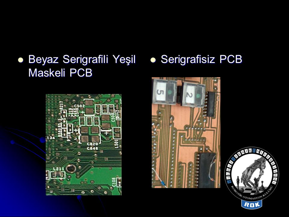 Beyaz Serigrafili Yeşil Maskeli PCB