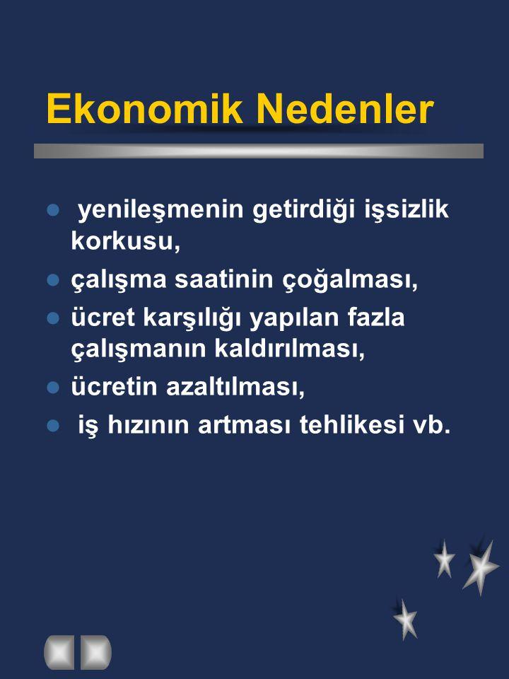 Ekonomik Nedenler yenileşmenin getirdiği işsizlik korkusu,