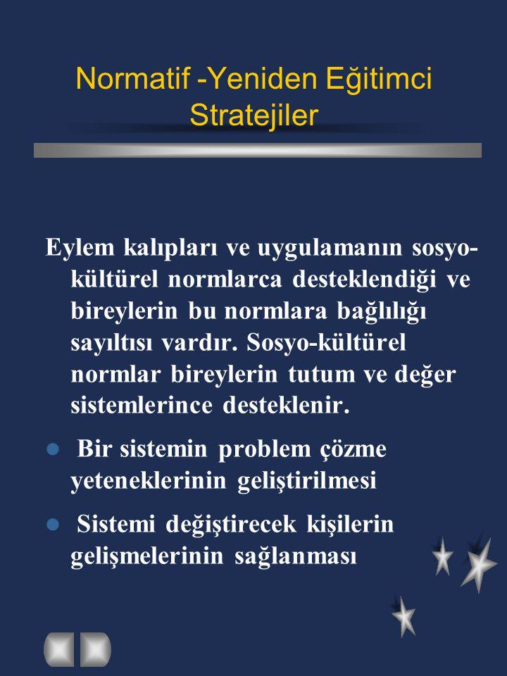 Normatif -Yeniden Eğitimci Stratejiler