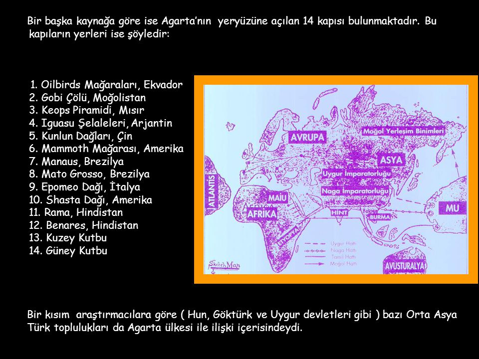 Bir başka kaynağa göre ise Agarta'nın yeryüzüne açılan 14 kapısı bulunmaktadır. Bu kapıların yerleri ise şöyledir: