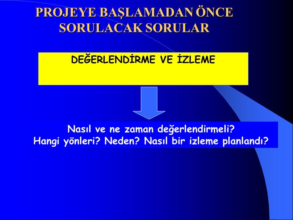 PROJEYE BAŞLAMADAN ÖNCE SORULACAK SORULAR