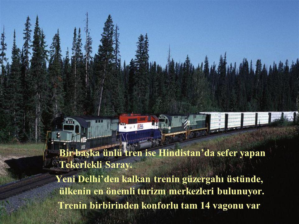 Bir başka ünlü tren ise Hindistan'da sefer yapan Tekerlekli Saray.