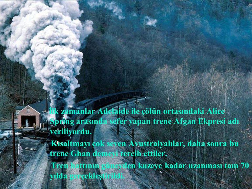 İlk zamanlar Adelaide ile çölün ortasındaki Alice Spring arasında sefer yapan trene Afgan Ekpresi adı veriliyordu.