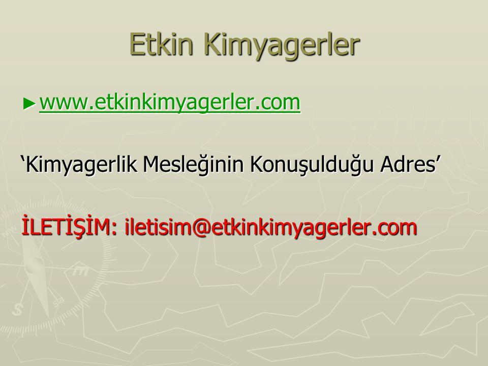 Etkin Kimyagerler www.etkinkimyagerler.com