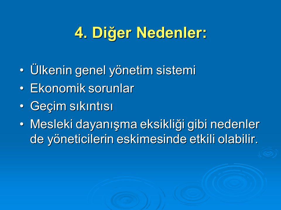 4. Diğer Nedenler: Ülkenin genel yönetim sistemi Ekonomik sorunlar