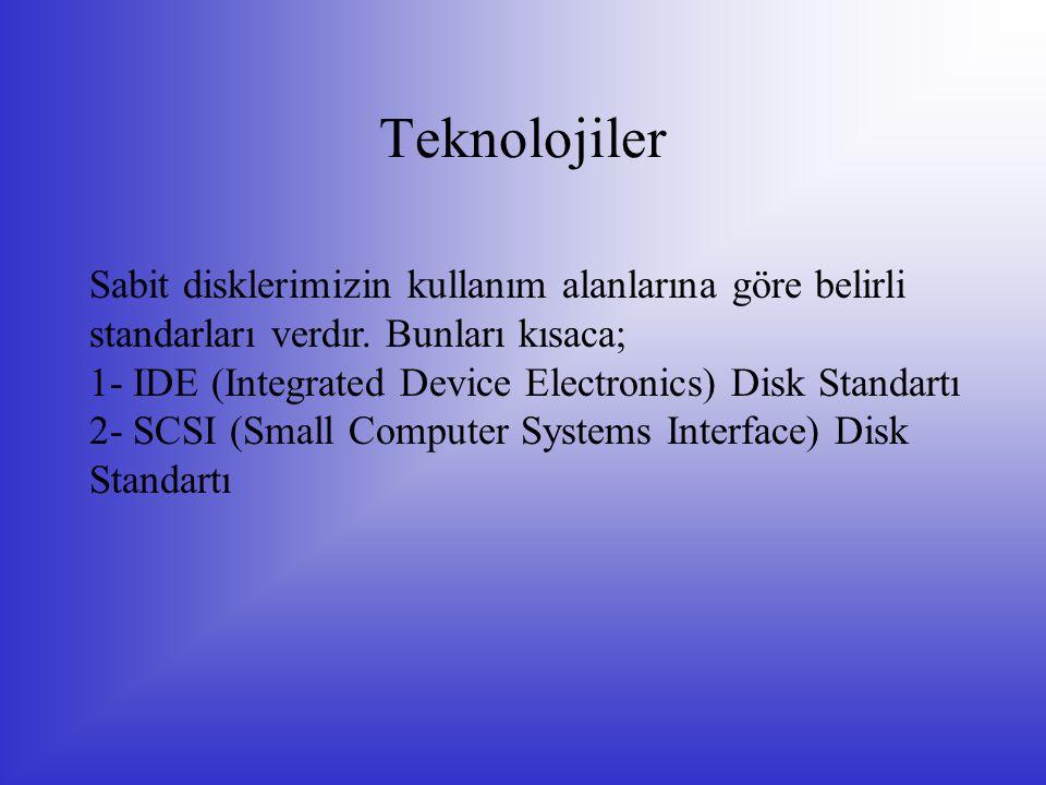 Teknolojiler Sabit disklerimizin kullanım alanlarına göre belirli standarları verdır. Bunları kısaca;