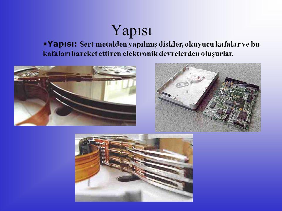 Yapısı Yapısı: Sert metalden yapılmış diskler, okuyucu kafalar ve bu kafaları hareket ettiren elektronik devrelerden oluşurlar.