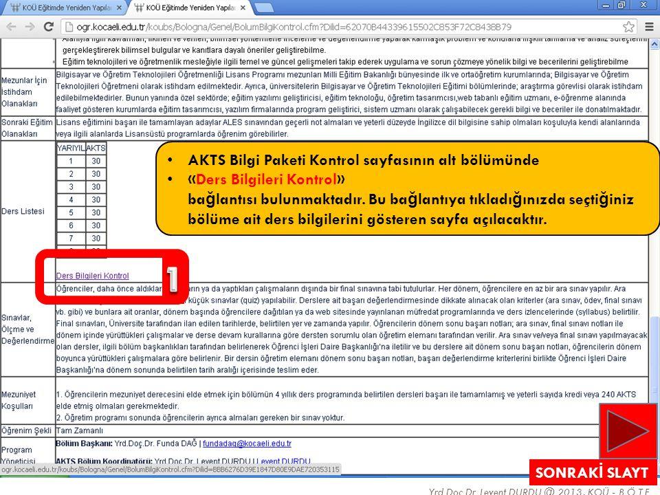 1 AKTS Bilgi Paketi Kontrol sayfasının alt bölümünde