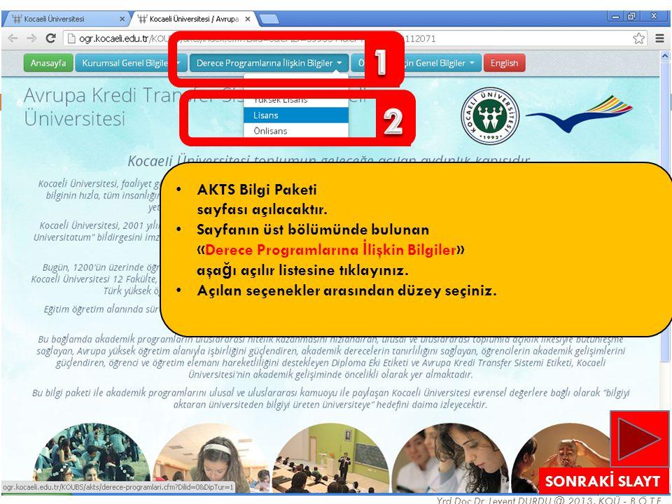 1 2 AKTS Bilgi Paketi sayfası açılacaktır.