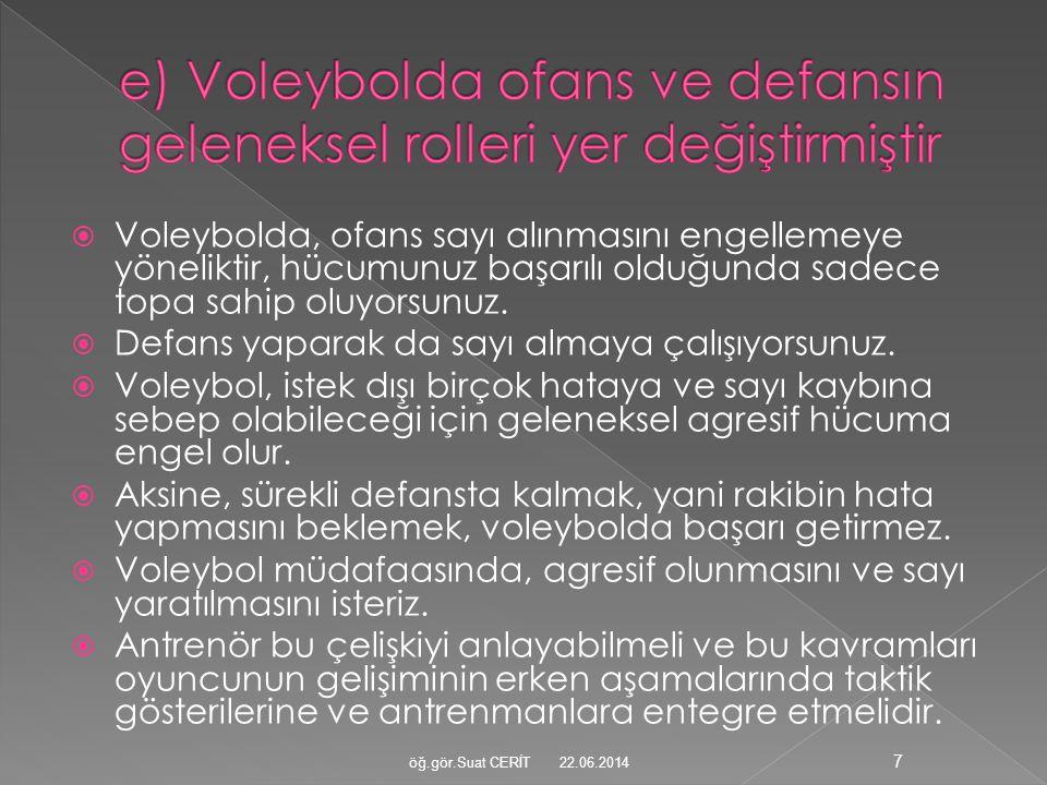 e) Voleybolda ofans ve defansın geleneksel rolleri yer değiştirmiştir