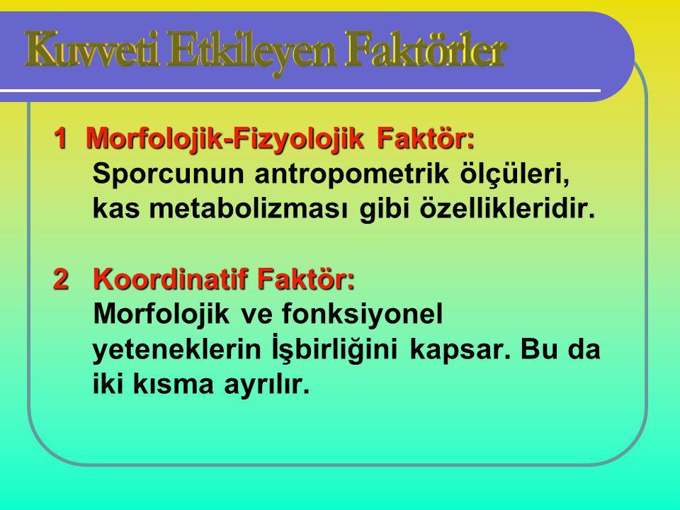 1 Morfolojik-Fizyolojik Faktör: Sporcunun antropometrik ölçüleri, kas metabolizması gibi özellikleridir.
