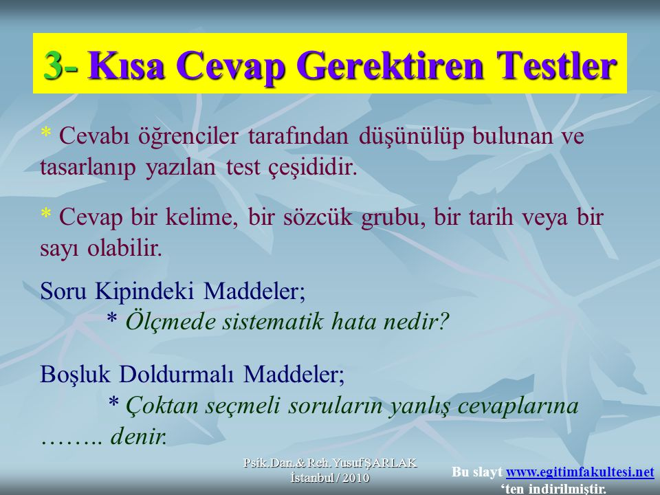 3- Kısa Cevap Gerektiren Testler