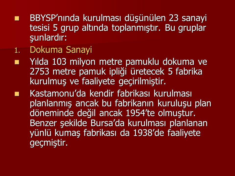 BBYSP'nında kurulması düşünülen 23 sanayi tesisi 5 grup altında toplanmıştır. Bu gruplar şunlardır: