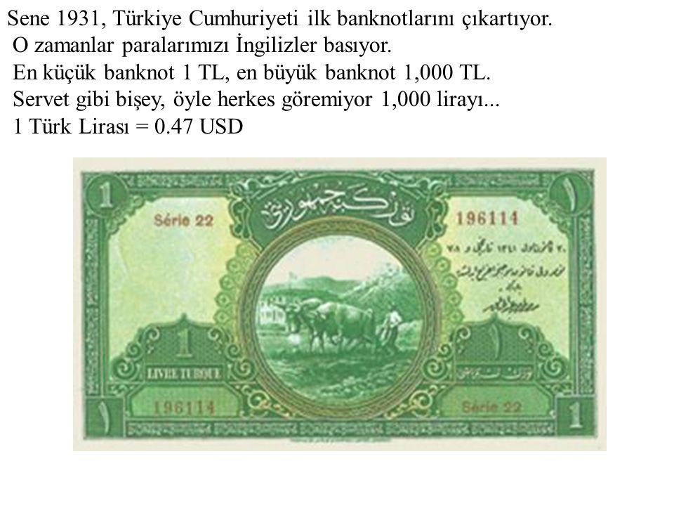 Sene 1931, Türkiye Cumhuriyeti ilk banknotlarını çıkartıyor