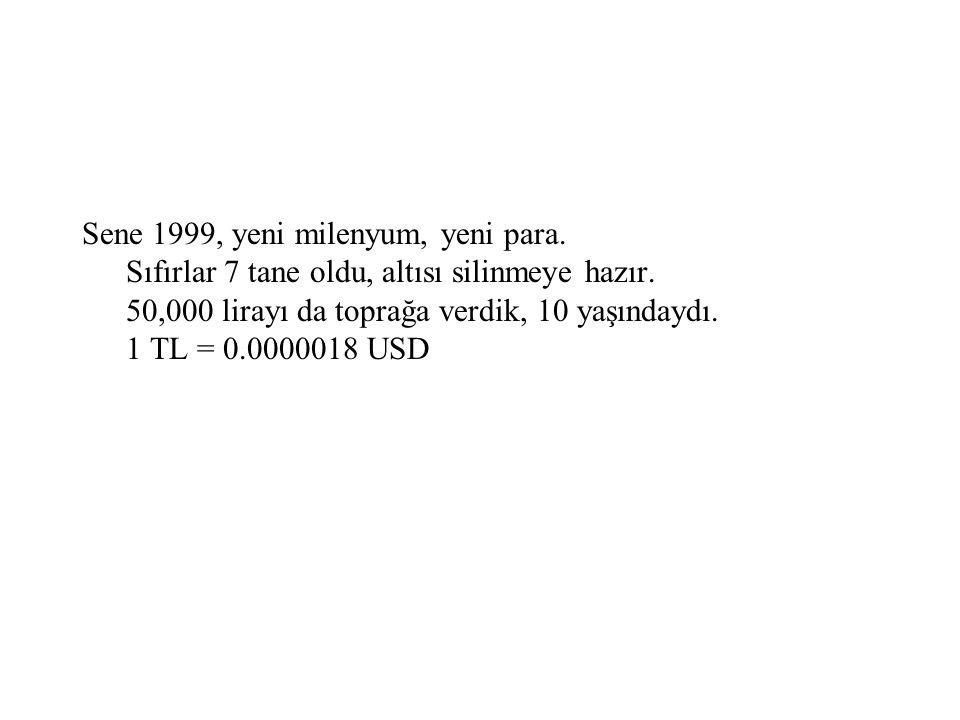 Sene 1999, yeni milenyum, yeni para
