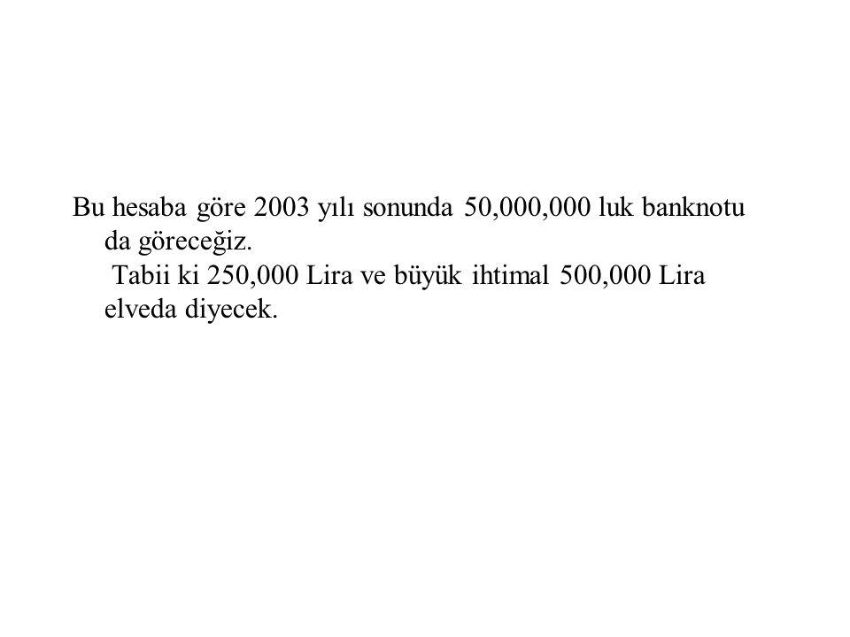 Bu hesaba göre 2003 yılı sonunda 50,000,000 luk banknotu da göreceğiz