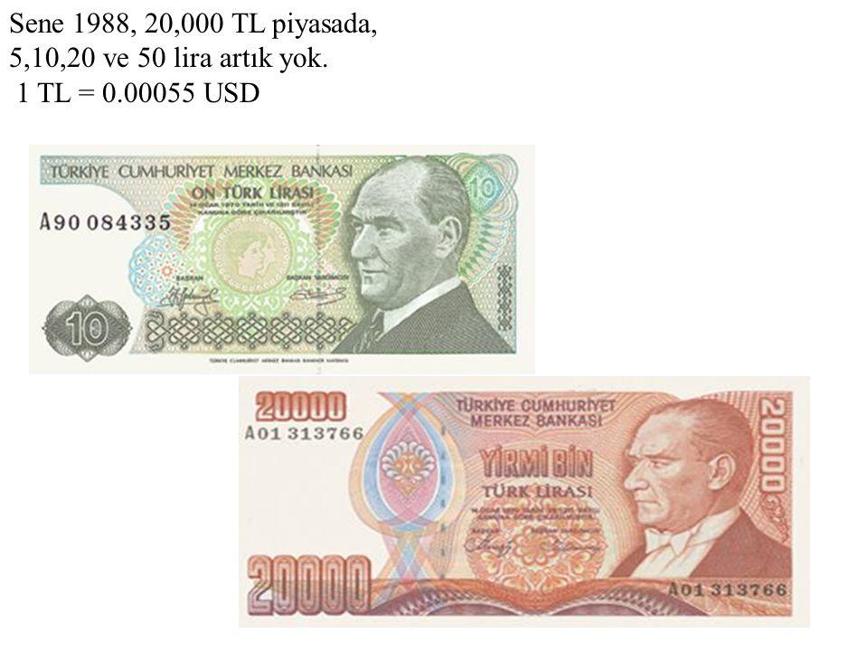 Sene 1988, 20,000 TL piyasada, 5,10,20 ve 50 lira artık yok. 1 TL = 0