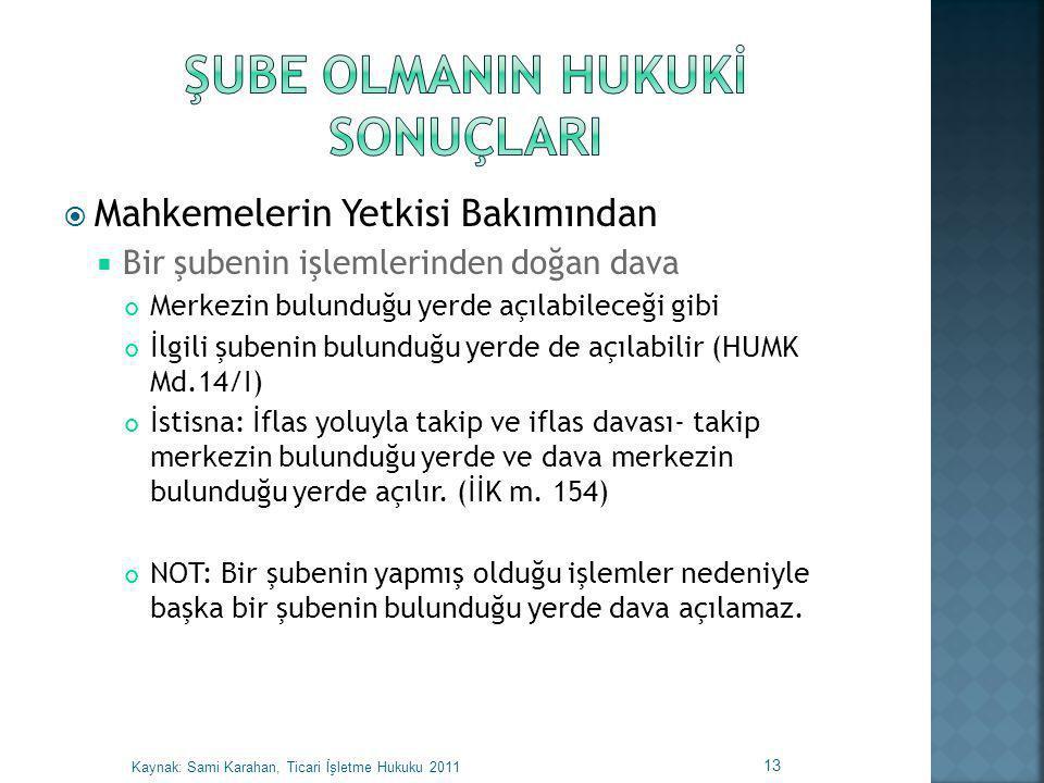 ŞUBE OLMANIN HUKUKİ SONUÇLARI