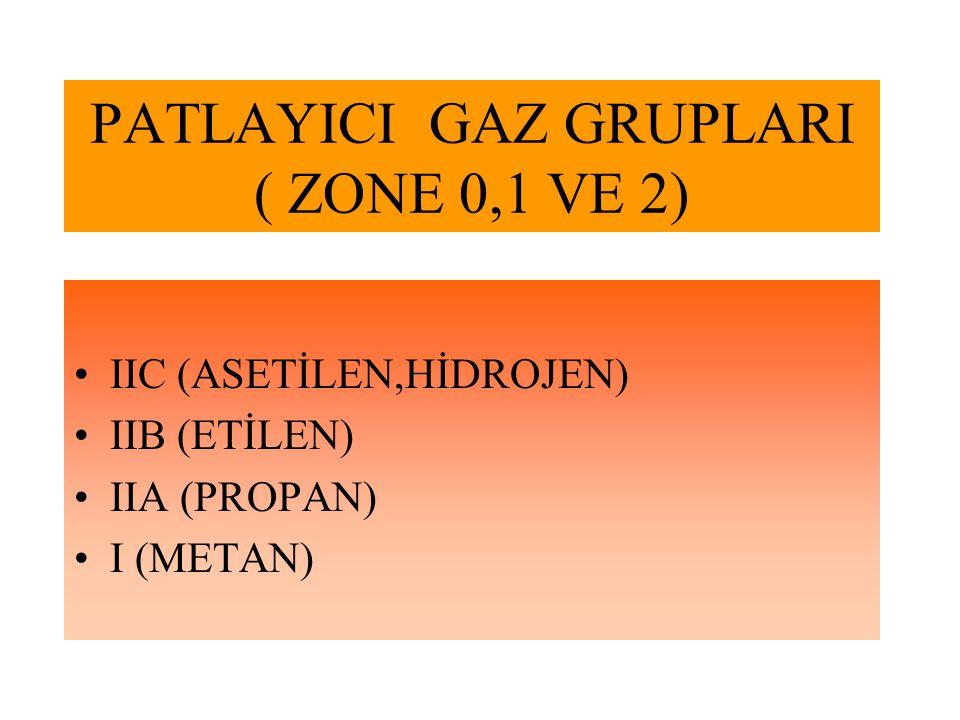 PATLAYICI GAZ GRUPLARI ( ZONE 0,1 VE 2)
