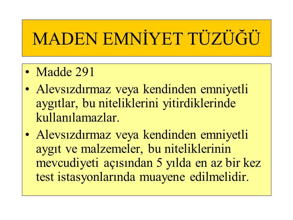MADEN EMNİYET TÜZÜĞÜ Madde 291