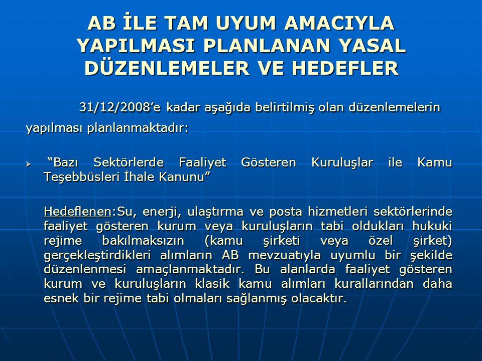 31/12/2008'e kadar aşağıda belirtilmiş olan düzenlemelerin