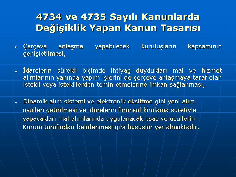4734 ve 4735 Sayılı Kanunlarda Değişiklik Yapan Kanun Tasarısı