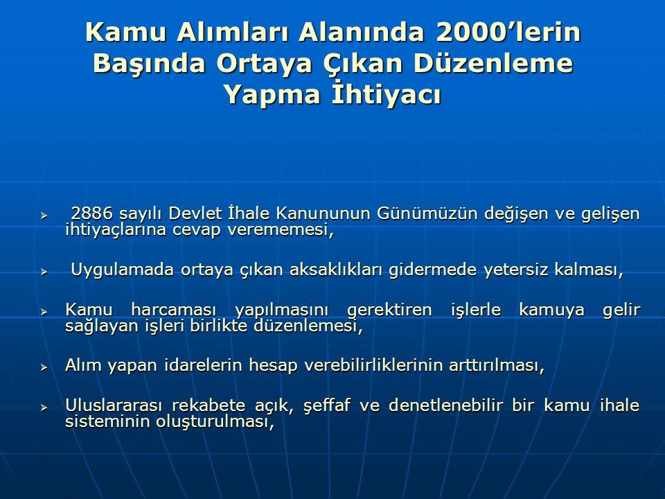 Kamu Alımları Alanında 2000'lerin Başında Ortaya Çıkan Düzenleme Yapma İhtiyacı