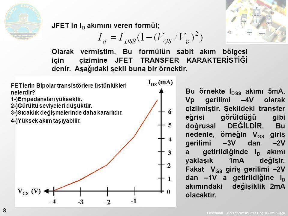 JFET in ID akımını veren formül;