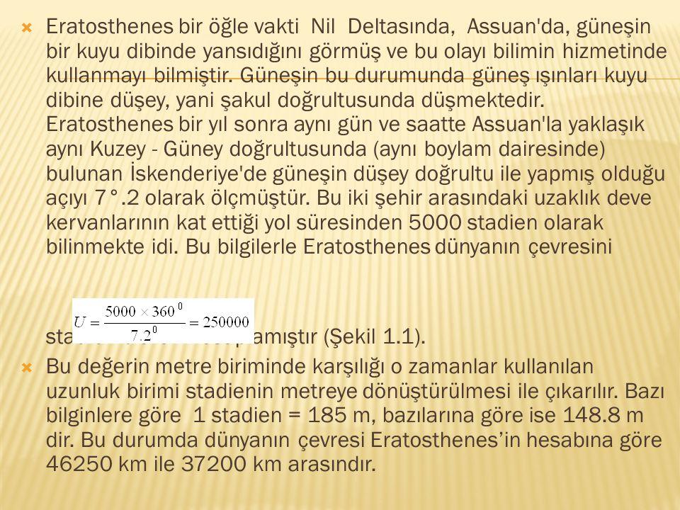 Eratosthenes bir öğle vakti Nil Deltasında, Assuan da, güneşin bir kuyu dibinde yansıdığını görmüş ve bu olayı bilimin hizmetinde kullanmayı bilmiştir. Güneşin bu durumunda güneş ışınları kuyu dibine düşey, yani şakul doğrultusunda düşmektedir. Eratosthenes bir yıl sonra aynı gün ve saatte Assuan la yaklaşık aynı Kuzey - Güney doğrultusunda (aynı boylam dairesinde) bulunan İskenderiye de güneşin düşey doğrultu ile yapmış olduğu açıyı 7°.2 olarak ölçmüştür. Bu iki şehir arasındaki uzaklık deve kervanlarının kat ettiği yol süresinden 5000 stadien olarak bilinmekte idi. Bu bilgilerle Eratosthenes dünyanın çevresini